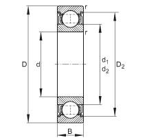 FAG الأخدود العميق الكرات - 6206-2Z