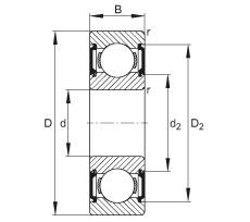 FAG الأخدود العميق الكرات - 6206-C-2BRS