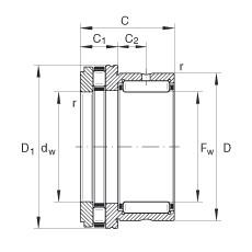 FAG إبرة بكرة / محوري أسطواني محامل - NKXR35-XL