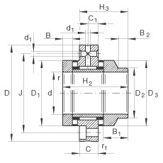 FAG إبرة بكرة / محوري أسطواني محامل - ZARF3080-L-TV