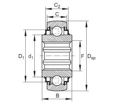 FAG Self-aligning deep groove ball bearings - SK104-207-KRR-B-L402/70-AH12