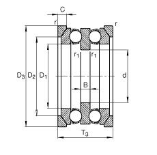 FAG محوري الأخدود العميق الكرات - 54207 + U207