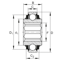 FAG Self-aligning deep groove ball bearings - SK104-208-KTT-L402/70-AH10
