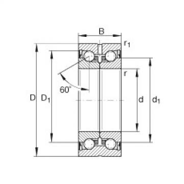 FAG محوري الزاوي الاتصال الكرات - ZKLN3062-2RS-XL
