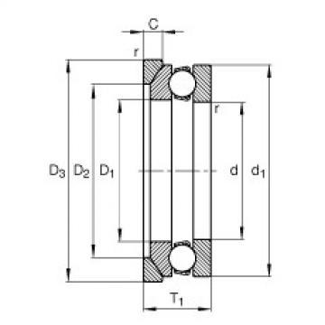 FAG محوري الأخدود العميق الكرات - 53306 + U306